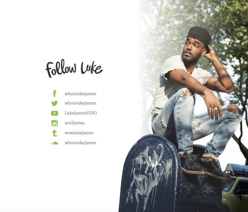 Social Follow EPK For Music Example